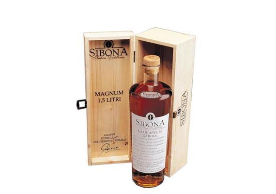 Grappa di Barolo 40% Vol., Magnum 1,5 l in Holzkiste(in astuccio legno), Sibona