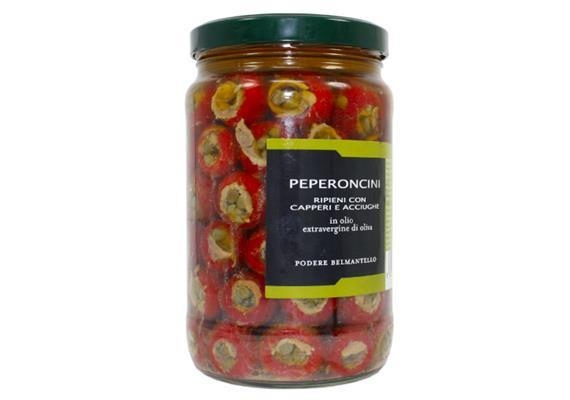Peperoncini ripieni acciughe e capperi, in olio extravergine, 1700 ml, Belmantello